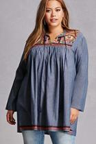 Forever21 Velzera Embroidered Peasant Top