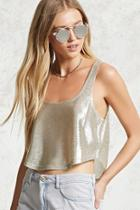 Forever21 Metallic Cropped Tank Top