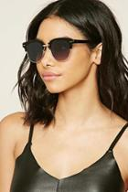 Forever21 Black & Grey Browline Square Sunglasses