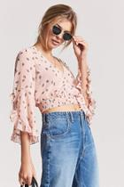 Forever21 Sheer Fan Graphic Surplice Crop Top