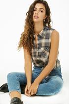 Forever21 Sleeveless Flannel Shirt