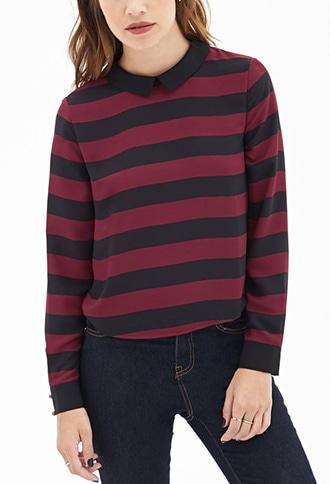 Forever21 Striped Chiffon Top