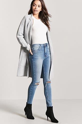 Forever21 Zippered High-waist Jeans