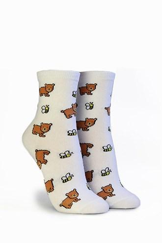 Forever21 Bear & Bee Print Crew Socks