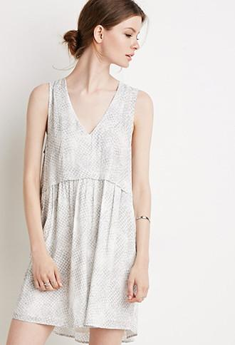 Love21 Shirred Dot Print Dress