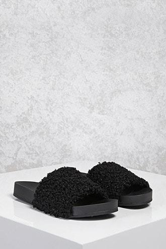 Forever21 Faux Shearling Slide Sandals