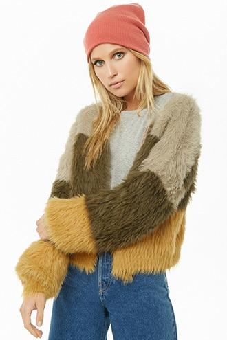 Forever21 Colorblock Shaggy Faux Fur Cardigan