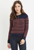 Forever21 Women's  Navy & Mauve Classic Striped Sweater