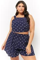 Forever21 Plus Size Pleated Polka Dot Shorts