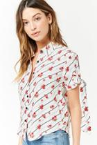 Forever21 Floral Striped Shirt