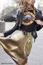 Forever21 Metallic Knit Pleated Skirt