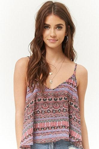 Forever21 Ornate Chiffon Strappy Swing Cami