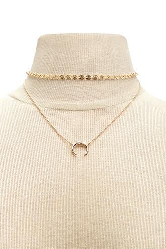 Forever21 Crescent Choker & Necklace Set