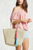 Forever21 Tasseled Straw Tote Bag