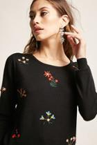 Forever21 Beaded Floral Sweater-knit Top