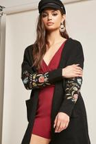 Forever21 Longline Floral Embroidered Cardigan