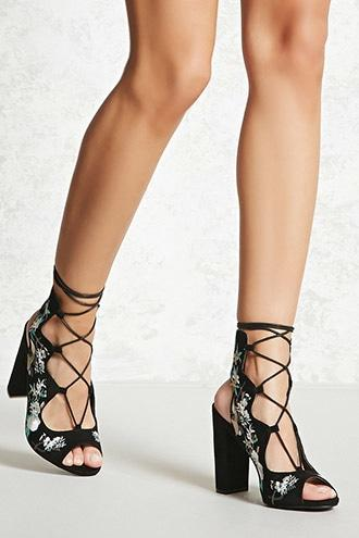 Forever21 Faux Suede Embroidered Heels