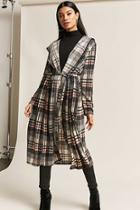 Forever21 Longline Hooded Glen Plaid Cardigan