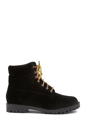 Forever21 Velvet Lace-up Boots