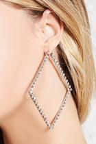 Forever21 Rhinestone Square Hoop Earrings