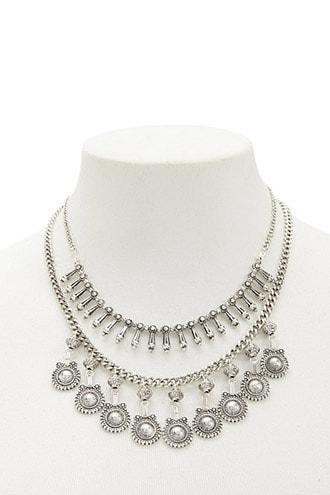 Forever21 Layered Burnished Statement Necklace