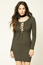 Forever21 Women's  Plunging Lace-up Bodycon Dress