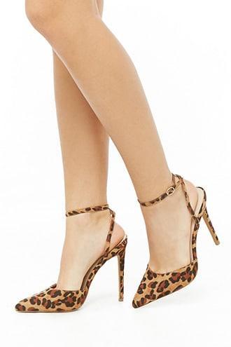 Forever21 Microfiber Leopard Print Stiletto Heels