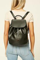 Forever21 Black Flap-top Faux Leather Backpack