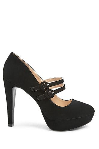 Forever21 Qupid Faux Nubuck Buckle-strap Pumps