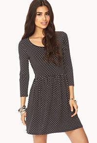 Forever21 Polka Dot Fit & Flare Dress