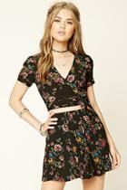 Forever21 Women's  Strappy-waist Floral Crop Top