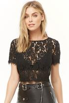 Forever21 Sheer Floral-embroidered Top