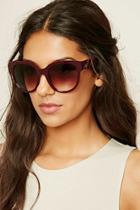 Forever21 Burgundy & Brown Gradient Round Sunglasses