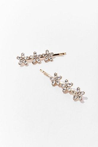 Forever21 Rhinestone Floral Bobby Pins Set