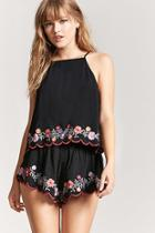 Forever21 Embroidered Scallop Shorts