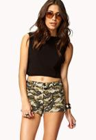 Forever21 Cuffed Camo Print Shorts