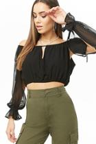 Forever21 Chiffon Peasant Crop Top