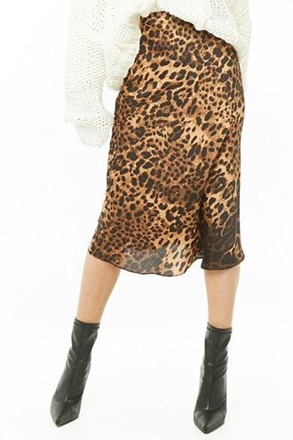 Forever21 Satin Leopard Skirt