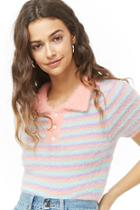 Forever21 Striped Fuzzy Knit Top