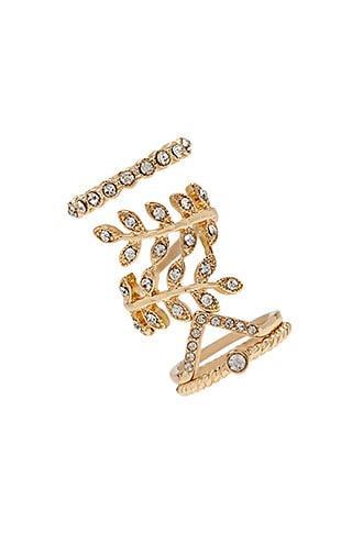 Forever21 Rhinestone Leaf Ring Set