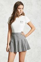 Forever21 Houndstooth Pleated Mini Skirt