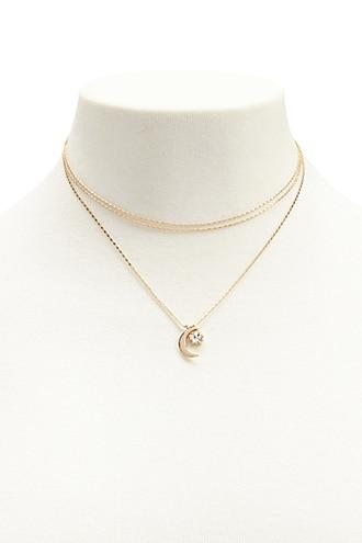 Forever21 Crescent Charm Layered Necklace