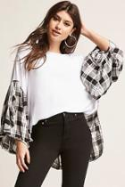 Forever21 Oversized Plaid-panel Top