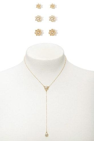 Forever21 Flower Studs & Drop Chain Necklace Set