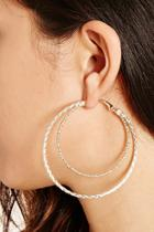 Forever21 Gold Etched Double Hoop Earrings