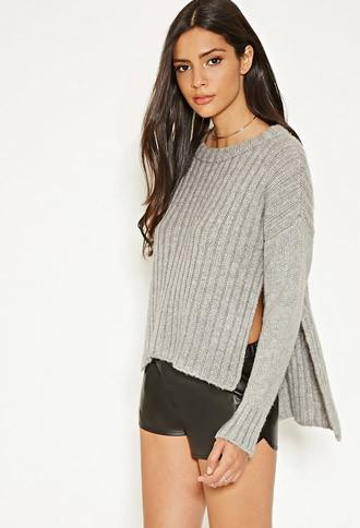 Forever21 Women's  Mlm Side-slit Ribbed Sweater (grey)