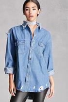 Forever21 Women's  Distressed Denim Shirt