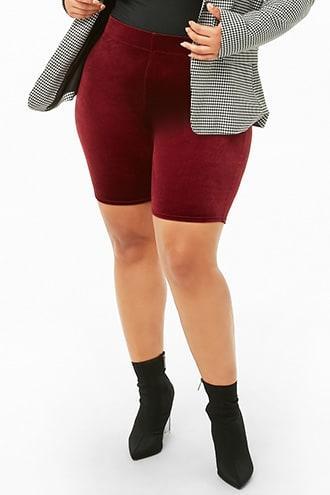Forever21 Plus Size Velvet Biker Shorts