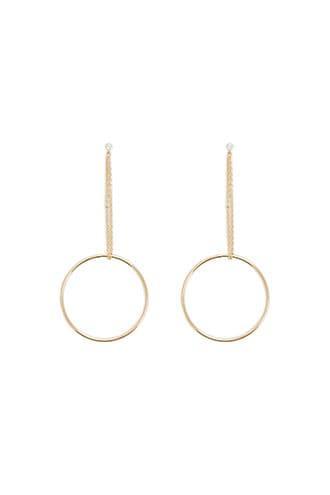 Forever21 Rhinestone & Chain Hoop Drop Earrings