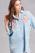 Forever21 Floral Denim Shirt Dress
